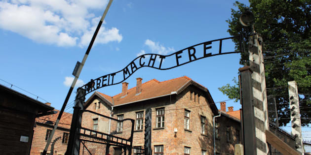Oswiecim, Poland - July 23, 2011: The main entrance gate to Auschwitz concentration camp, Poland. It was the biggest nazi concentration camp in Europe during World War II