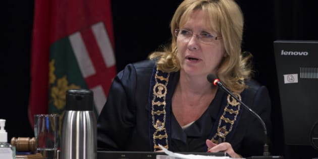 BRAMPTON, ON - OCTOBER 27: Brampton Mayor Linda Jeffrey during public submissions to council. Brampton City Council meets at the Rose Theatre to discus the LRT in Brampton.        (Rick Madonik/Toronto Star via Getty Images)
