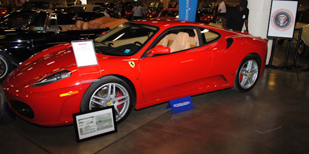 A Ferrari F430 owned by US president Donald J. Trump in 2007 is exhibited by Autcions America in Fort Lauderdale, Florida on March 31, 2017.  The auction will take place on April 1, 2017 and is expected to fetch $250,000 to $350,000 US dollars.    / AFP PHOTO / Leila MACOR / TO GO WITH AFP STORY BY LEILA MACOR        (Photo credit should read LEILA MACOR/AFP/Getty Images)