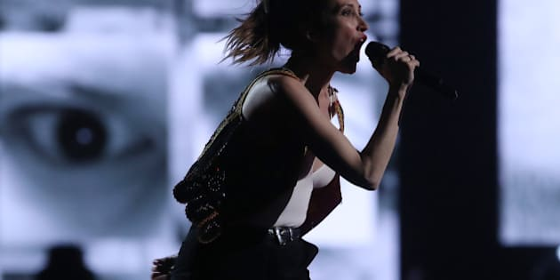 Leah Fay of the July Talk performs during the JUNO awards show at the Canadian Tire Centre in Ottawa, Ontario, on April 2, 2017. / AFP PHOTO / Lars Hagberg        (Photo credit should read LARS HAGBERG/AFP/Getty Images)