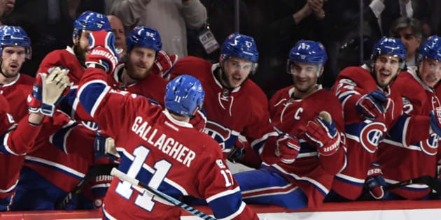 Mar 28, 2017; Montreal, Quebec, CAN; Montreal Canadiens forward Brendan Gallagher (11) reacts with teammates after scoring a goal against the Dallas Stars during the third period at the Bell Centre. Mandatory Credit: Eric Bolte-USA TODAY Sports