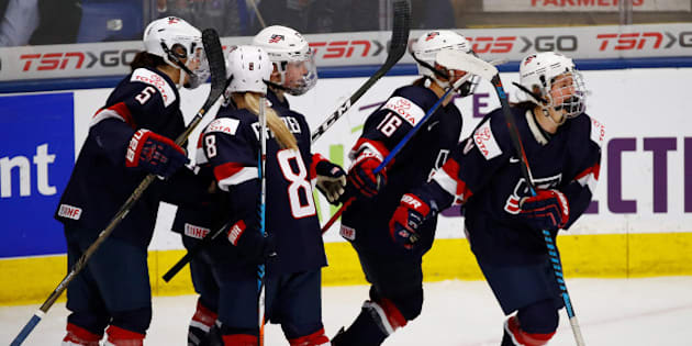 PLYMOUTH, MI - APRIL 06: Haley Skarupa #11 of the United States celebrates her third-period goal with teammates while playing Germany in a semifinal game at the 2017 IIHF Woman's World Championships at USA Hockey Arena on April 6, 2017 in Plymouth, Michigan. The United States won the game 11-0. (Photo by Gregory Shamus/Getty Images)