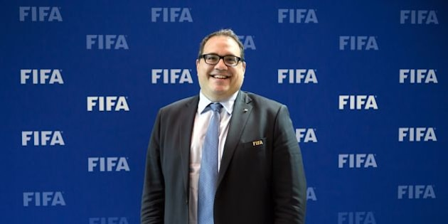 CONCACAF President Victor Montagliani of Canada smiles posing after a meeting of the FIFA Council on October 14, 2016 at the world football's governing body headquarters in Zurich.  FIFA executives will make a final decision on World Cup reform in January after weighing up three proposals on October 13, as president Gianni Infantino pushes plans to grow the lucrative tournament. / AFP / FABRICE COFFRINI        (Photo credit should read FABRICE COFFRINI/AFP/Getty Images)