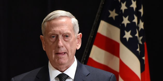 US Defence Secretary Jim Mattis speaks while Japanese Defence Minister Tomomi Inada (not pictured) listens during a joint press conference at the defence ministry in Tokyo on February 4, 2017. / AFP / Toru YAMANAKA        (Photo credit should read TORU YAMANAKA/AFP/Getty Images)