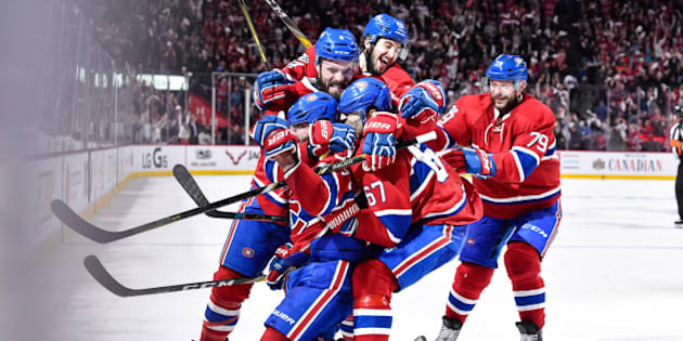 MONTREAL, QC - APRIL 14:  Alexander Radulov #47 of the Montreal Canadiens celebrates his overtime goal with teammates against the New York Rangers in Game Two of the Eastern Conference First Round during the 2017 NHL Stanley Cup Playoffs at the Bell Centre on April 14, 2017 in Montreal, Quebec, Canada.  The Montreal Canadiens defeated the New York Rangers 4-3 in overtime.  (Photo by Minas Panagiotakis/Getty Images)