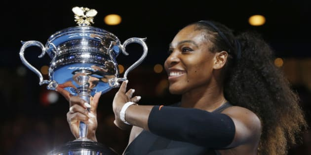 Tennis - Australian Open - Melbourne Park, Melbourne, Australia - 28/1/17 Serena Williams of the U.S. holds her trophy after winning her Women's singles final match against Venus Williams of the U.S. .REUTERS/Issei Kato  TPX IMAGES OF THE DAY