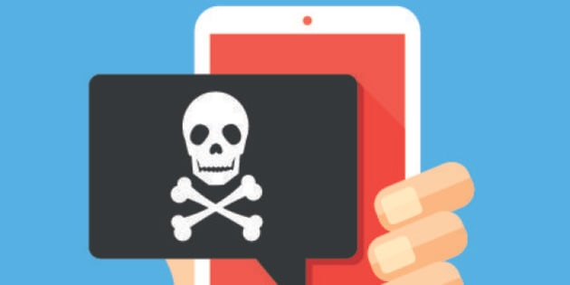 Hand holding smartphone with speech bubble and skull and bones on screen. Skull icon. Threats, mobile malware, spam messages, fraud, sms spam concepts. Modern flat design vector illustration