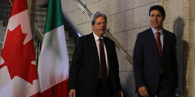 Canadian Prime Minister Justin Trudeau (R) and Prime Minister Paolo Gentiloni of Italy, arrive for a joint press conference in Ottawa, Ontario, April 21, 2017. / AFP PHOTO / Lars Hagberg        (Photo credit should read LARS HAGBERG/AFP/Getty Images)