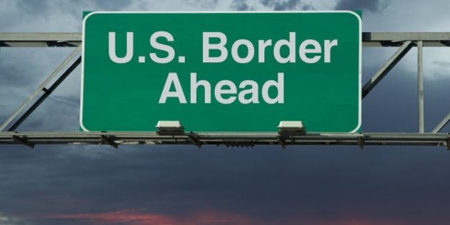 A sign that says 'United States Border Ahead.'
