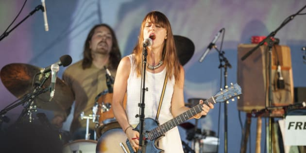 COLOGNE, GERMANY - AUGUST 21: Feist performs on stage at the Tanzbrunnen on August 21, 2012 in Cologne, Germany.  (Photo by Peter Wafzig/Redferns via Getty Images)