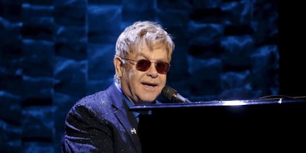 """Singer Elton John performs at the Hillary Victory Fund """"I'm With Her"""" benefit concert for U.S. Democratic presidential candidate Hillary Clinton at Radio City Music Hall in New York City, March 2, 2016. REUTERS/Mike Segar/File Photo"""