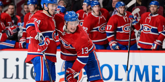 MONTREAL, QC - OCTOBER 20:  Alexander Semin #13 of the Montreal Canadiens celebrates his second period goal and his first as a Canadien with teammate Alexei Emelin #74 during the NHL game against the St. Louis Blues at the Bell Centre on October 20, 2015 in Montreal, Quebec, Canada. (Photo by Minas Panagiotakis/Getty Images)