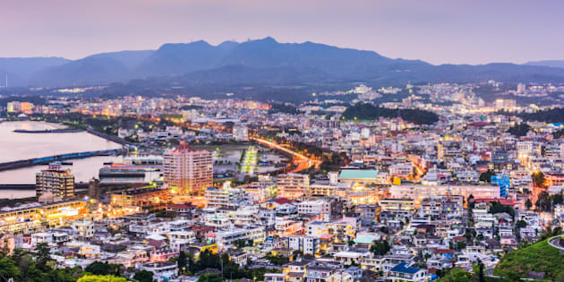 Nago, Okinawa, Japan downtown skyline.
