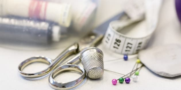 sewing items on table