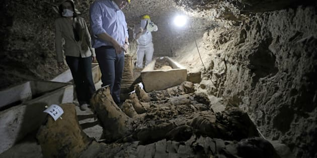 Egyptian Minister of Antiquities Khaled Al-Anani inside a newly discovered burial site in Minya, Egypt May 13, 2017. REUTERS/Mohamed Abd El Ghany