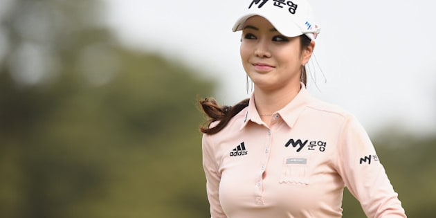 TSUKUBAMIRAI, JAPAN - MAY 07:  Shin-Ae Ahn of South Korea looks on during the final round of the World Ladies Championship Salonpas Cup at the Ibaraki Golf Club on May 7, 2017 in Tsukubamirai, Japan.  (Photo by Matt Roberts/Getty Images)
