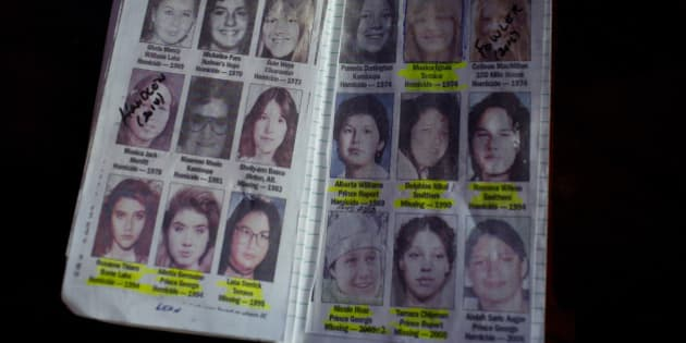 VANCOUVER, BRITISH COLUMBIA - APRIL 20: A private detective's notebook on women who have gone missing along Canada's Route 16 shows some of the murder investiagtions of indegenous women on April 20, 2016 in Vancouver, British Columbia. Canada's Route 16, which connects Prince George with Prince Rupert and runs for 450 miles through the province of British Columbia, has been given the nickname of the Highway of Tears. Along this east to west road, it is estimated that as many as forty First Nations women and girls have been murdered or disappeared. Across Canada, it is estimated that between 1980 and 2014, as many as 1,200 native women and girls were murdered or vanished.(Photo by Andrew Lichtenstein/ Corbis via Getty Images)