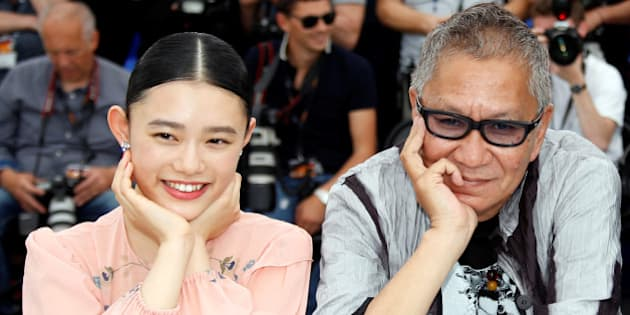 "70th Cannes Film Festival - Photocall for the film ""Mugen no junin"" (Blade of the Immortal) out of competition - Cannes, France. 18/05/2017. Director Takashi Miike poses with cast members Hana Sugisaki and Takuya Kimura. REUTERS/Jean-Paul Pelissier"