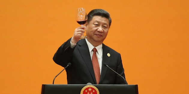 Chinese President Xi Jinping makes a toast during a welcome banquet for the Belt and Road Forum at the Great Hall of the People in Beijin on May 14, 2017. China touted on Sunday its new Silk Road as 'a project of the century' at a summit highlighting its growing leadership on globalisation, but a North Korean missile test threatened to overshadow the event. / AFP PHOTO / POOL / WU HONG        (Photo credit should read WU HONG/AFP/Getty Images)