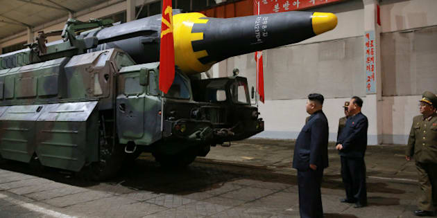 North Korean leader Kim Jong Un inspects the long-range strategic ballistic rocket Hwasong-12 (Mars-12) in this undated photo released by North Korea's Korean Central News Agency (KCNA) on May 15, 2017. KCNA via REUTERS   REUTERS ATTENTION EDITORS - THIS IMAGE WAS PROVIDED BY A THIRD PARTY. EDITORIAL USE ONLY. REUTERS IS UNABLE TO INDEPENDENTLY VERIFY THIS IMAGE. NO THIRD PARTY SALES. SOUTH KOREA OUT.