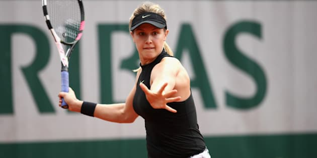 PARIS, FRANCE - MAY 30:  Eugenie Bouchard of Canada plays a forehand  during the ladies singles first round match against Renzo Olivo of Argentina day three of the 2017 French Open at Roland Garros on May 30, 2017 in Paris, France.  (Photo by Julian Finney/Getty Images)