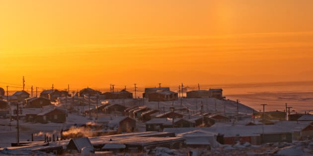 Pond Inlet, Nunavut, Canada, Inuit community Baffin Island.  Sunset in Winter, good copy space.