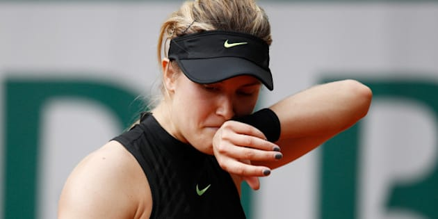 PARIS, FRANCE - JUNE 01:  Eugenie Bouchard of Canada reacts during the ladies singles second round match against Anastasija Sevastova of Latvia on day five of the 2017 French Open  at Roland Garros on June 1, 2017 in Paris, France.  (Photo by Adam Pretty/Getty Images)