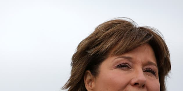 British Columbia Premier Christy Clark addresses the media during a campaign stop at Vancouver International Airport in Richmond, British Columbia, Canada May 8, 2017. REUTERS/Ben Nelms