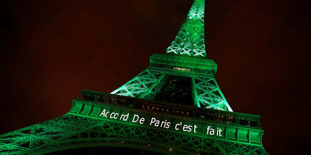"The Eiffel tower is illuminated in green with the words ""Paris Agreement is Done"", to celebrate the Paris U.N. COP21 Climate Change agreement in Paris, France, November 4, 2016. REUTERS/Jacky Naegelen     TPX IMAGES OF THE DAY"