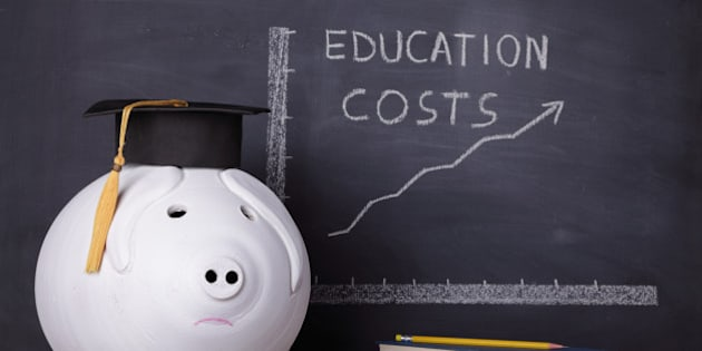 Big piggybank with a graduation cap is standing next to an education chart showing a rising trend in Education costs