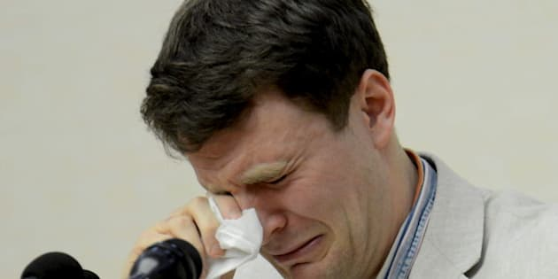 """U.S. student Otto Warmbier reacts at a news conference in this undated photo released by North Korea's Korean Central News Agency (KCNA) in Pyongyang February 29, 2016. The U.S. student held in North Korea since early January was detained for trying to steal an item bearing a propaganda slogan from his Pyongyang hotel and has confessed to """"severe crimes"""" against the state, the North's official media said on Monday.     REUTERS/KCNA ATTENTION EDITORS - THIS PICTURE WAS PROVIDED BY A THIRD PARTY. REUTERS IS UNABLE TO INDEPENDENTLY VERIFY THE AUTHENTICITY, CONTENT, LOCATION OR DATE OF THIS IMAGE. FOR EDITORIAL USE ONLY. NOT FOR SALE FOR MARKETING OR ADVERTISING CAMPAIGNS. THIS PICTURE IS DISTRIBUTED EXACTLY AS RECEIVED BY REUTERS, AS A SERVICE TO CLIENTS. NO THIRD PARTY SALES. SOUTH KOREA OUT. NO COMMERCIAL OR EDITORIAL SALES IN SOUTH KOREA.      TPX IMAGES OF THE DAY"""