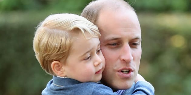 VICTORIA, BC - SEPTEMBER 29:  (NO UK SALES FOR 28 DAYS) Prince William, Duke of Cambridge and Prince George of Cambridge attend a children's party for Military families during the Royal Tour of Canada on September 29, 2016 in Victoria, Canada.  (Photo by Pool/Sam Hussein/WireImage)