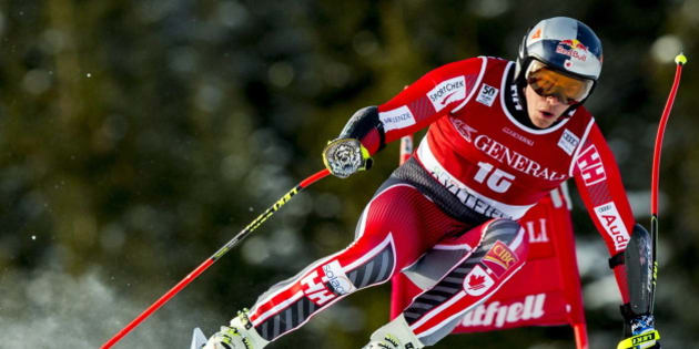 Canada's Erik Guay competes to place third in the FIS World Cup Alpine Skiing Mens Super G event in Kvitfjell, Norway, February 26, 2017. / AFP / NTB Scanpix / Vegard Wivestad Grott / Norway OUT        (Photo credit should read VEGARD WIVESTAD GROTT/AFP/Getty Images)