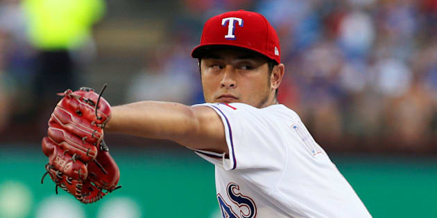 Jul 26, 2017; Arlington, TX, USA; Texas Rangers starting pitcher Yu Darvish (11) throws a pitch in the first inning against the Miami Marlins at Globe Life Park in Arlington. Mandatory Credit: Tim Heitman-USA TODAY Sports