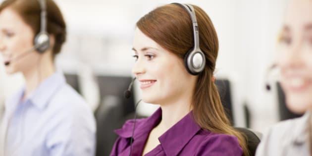 Businesswomen working in headsets