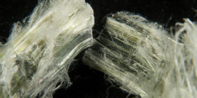 asbestos fibers close up