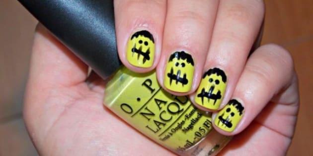 Nail Art Designs Diy Halloween Frankenstein Fingers