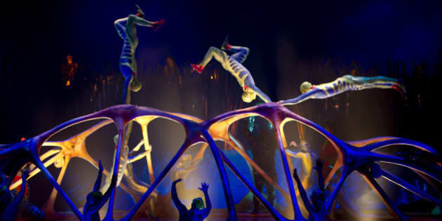 Members of the Canadian performance group, Cirque Du Soleil perform Totem at the Royal Albert Hall, London, Wednesday, Jan. 4, 2012. (AP Photo/Jonathan Short)