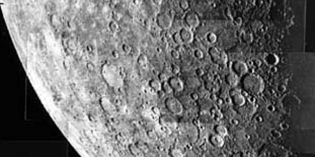 description 1 Mosaic image of Mercury taken by Mariner 10.  intervals during a 13 minute period when the spacecraft was 200,000 km from the planet. |  ...