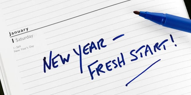 new year resolution marked in a ...