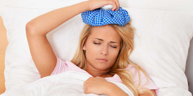 woman with ice pack for...