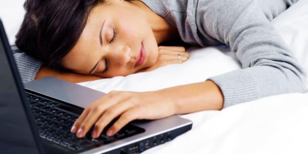woman fallen asleep while using ...
