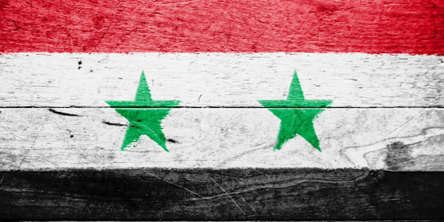 the syria flag painted on...