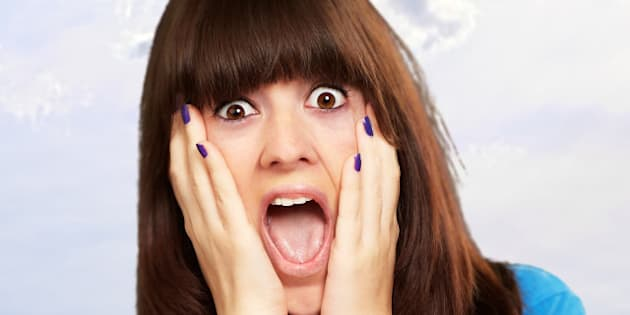 young woman screaming  outdoor