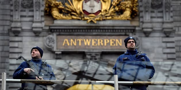 File photo of Belgium police officers patrolling Antwerp's central station