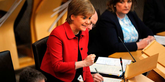 Scottish First Minister Nicola Sturgeon debates in Scottish Parliament in Edinburgh on March 28, 2017.