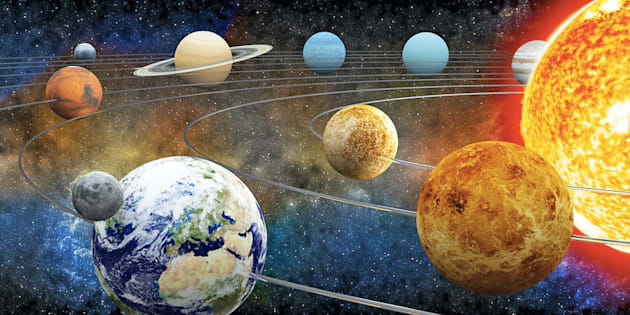 The sun and nine planets of our solar system
