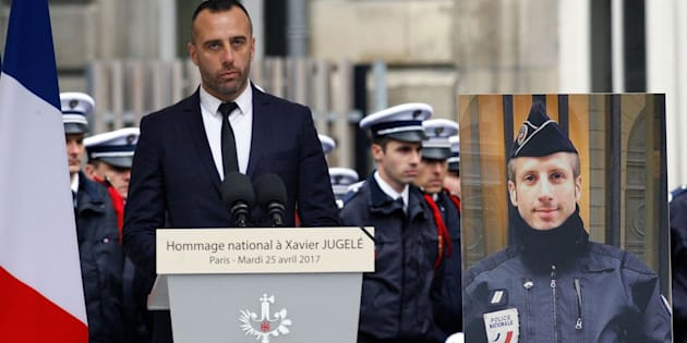 Etienne Cardiles (left) spoke at an April memorial for XavierJugelé.
