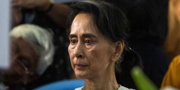 Myanmar's State Counselor Aung San Suu Kyi attends the funeral service for the National League for Democracy (NLD) party's former chairman Aung Shwe in Yangon on August 17, 2017. / AFP PHOTO        (Photo credit should read /AFP/Getty Images)
