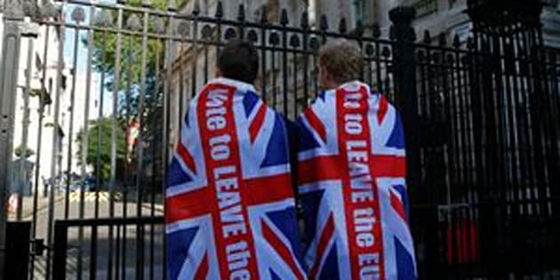 "Britain voted to leave the EU in a referendum on Thursday. ""Leave"" supporters are pictured here outside the prime minister's residence in Downing Street, London, on Friday."
